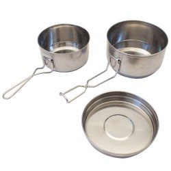 Three pieces stainless steel mess tin