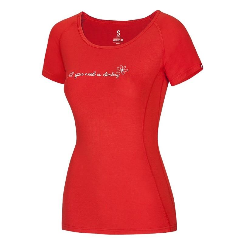 Dámské tričko Ocun Bamboo T Flower Flame red